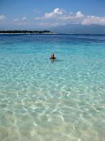 Sarah enjoying the clear water of the Gilis