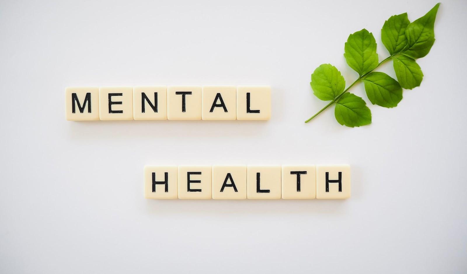mental health written with Scrabble letters