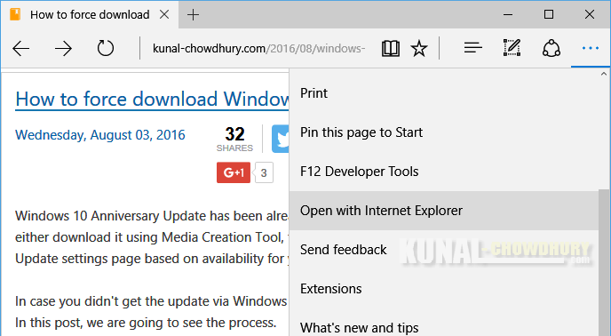 How to open a web page from Microsoft Edge with Internet Explorer (www.kunal-chowdhury.com)