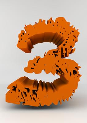 lettre 3D chiffron de craie orange - 3 - images libres de droit