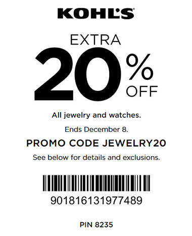 Kohls coupon extra 20 off fine jewelry watches for Kohls fine jewelry coupon