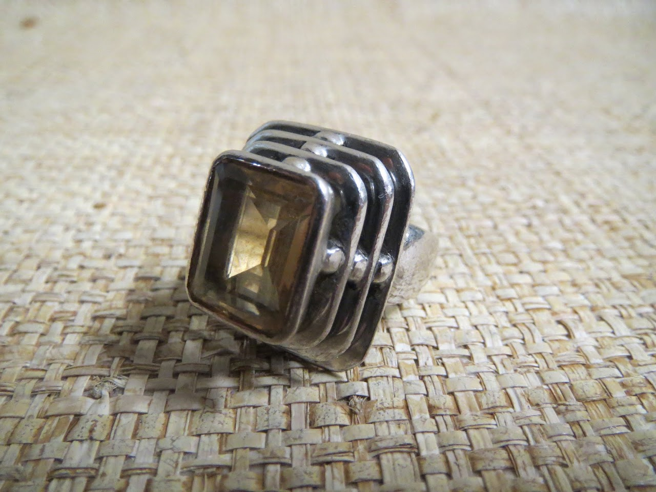Sterling Silver and Yellow Stone Ring