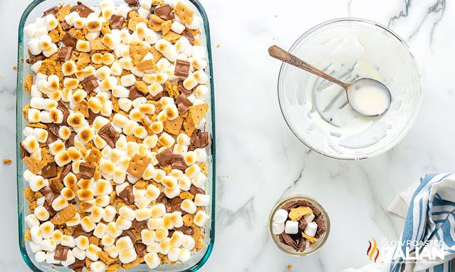 Marshmallow Smores Cake toasted