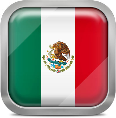 Mexico square flag with metallic frame