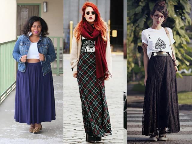 Tendência- Cintura Alta! Blog Insaturada! Exemplos de looks com saias longas!