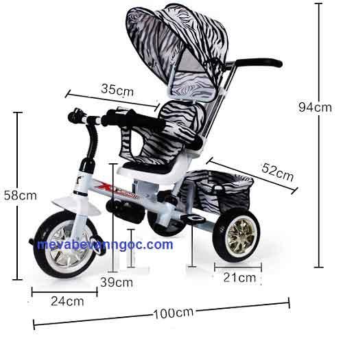 Kích thước Xe đẩy trẻ em ba bánh B32-2