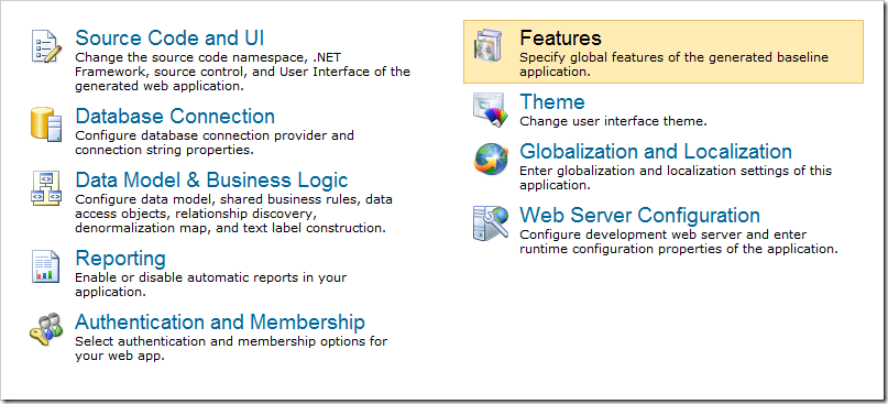 Navigating to the Features page of the Project Wizard.