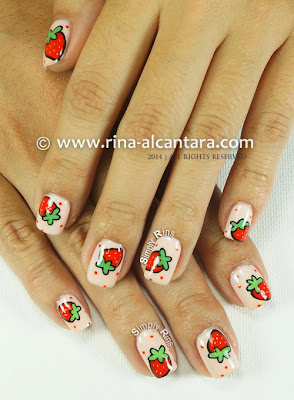 Strawberry and More Strawberries Nail Art by Simply Rins