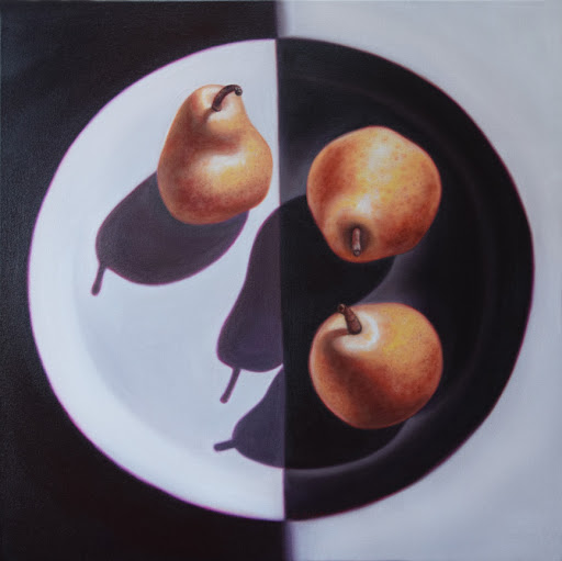 "Three Pears on a Plate 24"" by 24"". Artist Judy Prisoc"