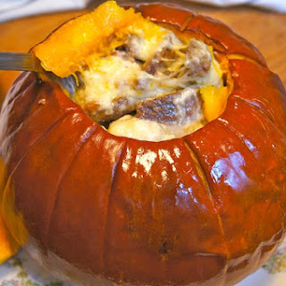 CHEESE FONDUE IN A ROASTED PUMPKIN