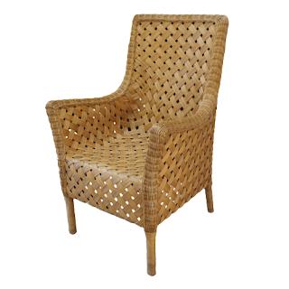 Woven Wicker High-Back Armchair