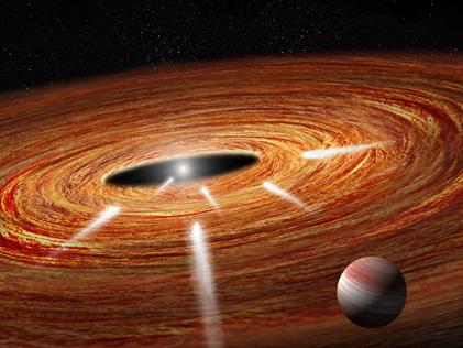 cometas viajando por um disco protoplanetário rumo à jovem estrela