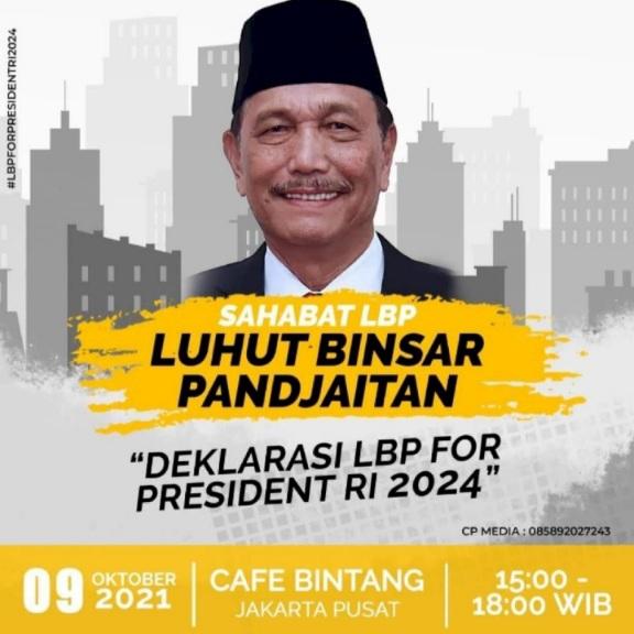 Deklarasi LBP for President, Relawan: Dulu Pak Jokowi Juga Bilang Nggak Mikir