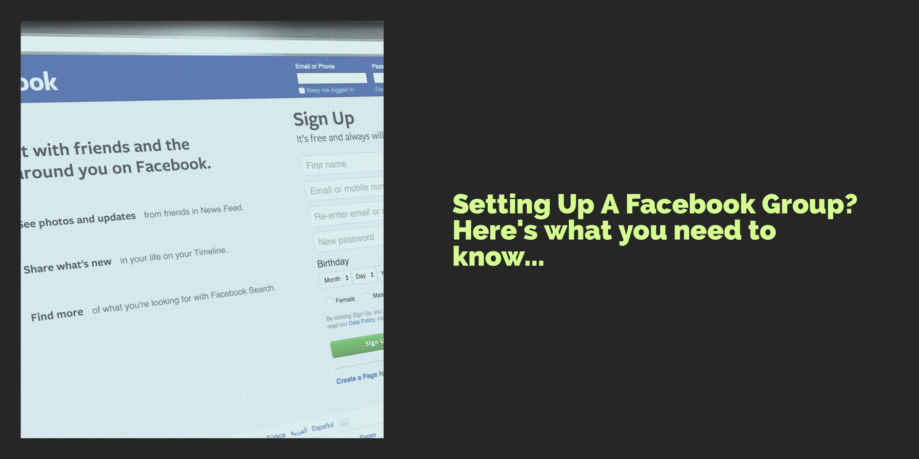 setting up Facebook groups