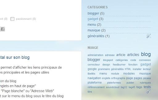 Je peux créer deux modules : un avec les catégories principales, un autre avec les mots-clés