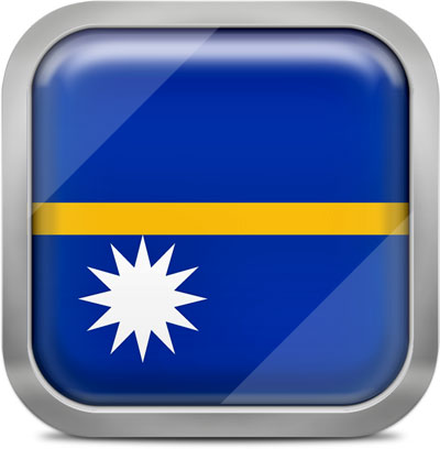 Nauru square flag with metallic frame
