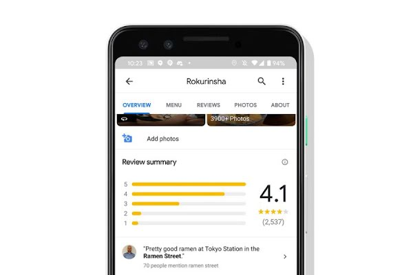 A smartphone screen shows a Google business overview page with reviews and star ratings