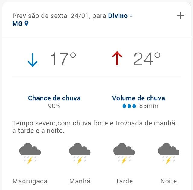 Sexta-feira deve ser de chuvas intensas para a cidade de Divino