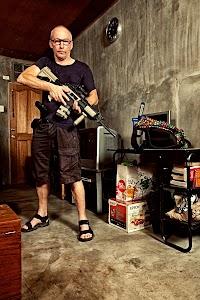 Me holding the plastic gun.