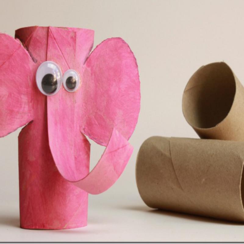Manualidades elefantes tubo higiénico