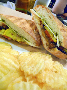 Sandwiches and Sides at Picnic House, Portland ,Ratatouille sandwich with marinated vegetables, sweet pesto & ricotta salata