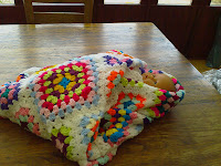 "This blanket is made in Small and Large square in alternate pattern it is multi colour with white fancy edge finish 50"" (127cm) x 53"" (134cm)"
