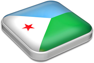 Flag of Djibouti with metallic square frame