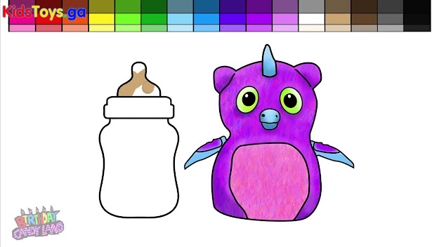 Learn Colors For Kids And Color Hatchimals Owlicorn Baby Bottle Coloring  Page Minions Play Doh