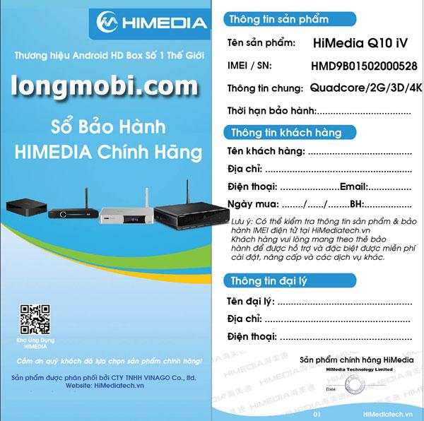Sổ bảo hành chính hãng của himedia