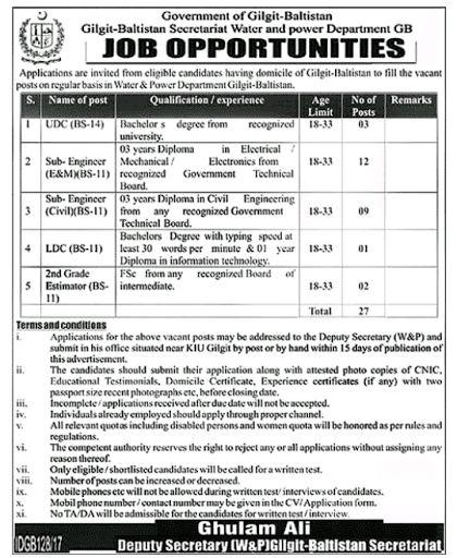 Sub Engineer Civil Diploma Required In Gilgit Balitistan Water And Power Department