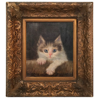 Elizabeth Strong Signed Kitten Portrait Oil Painting