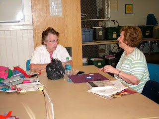 Lorri and Barbara at the working table