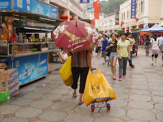 woman collecting recyclable material in Zhongshan, Guangdong