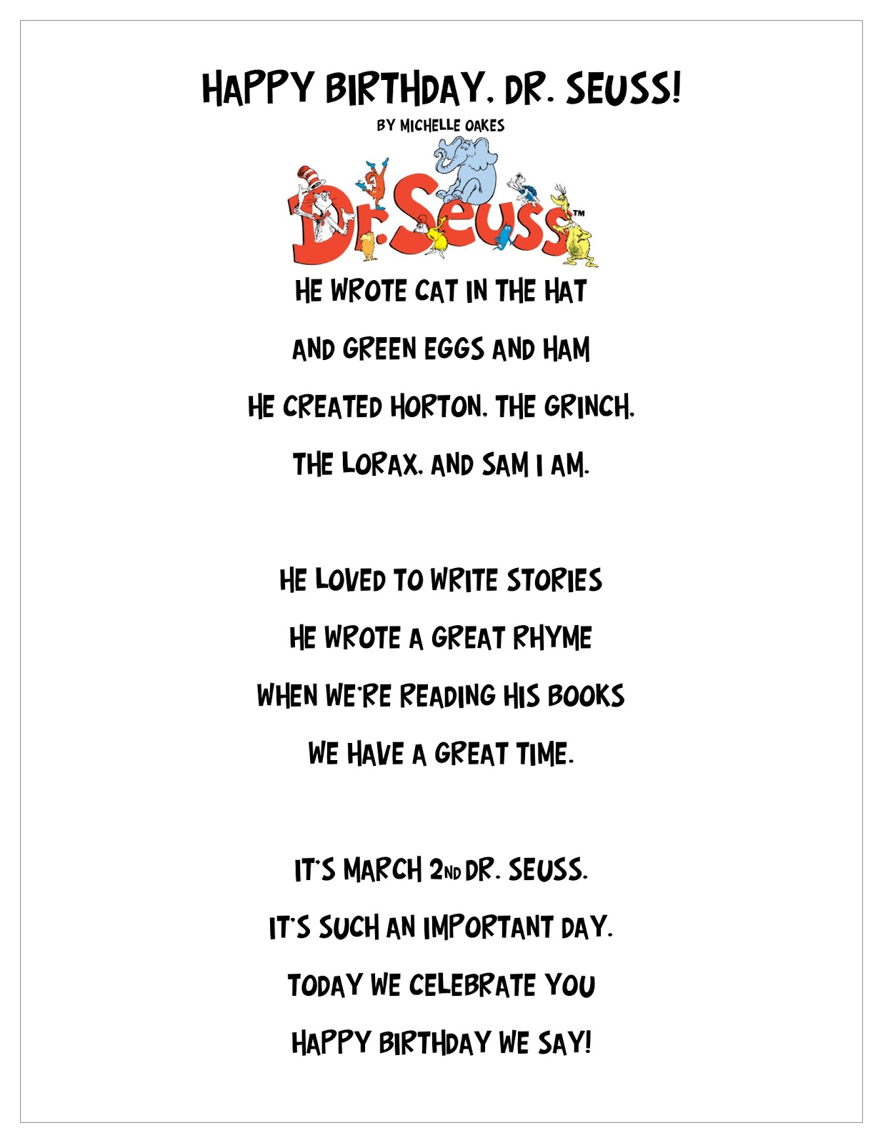Happy Birthday, Dr. Seuss! Poem and Craft