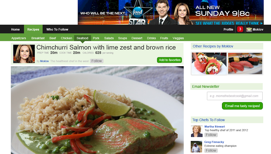 Food photo above the fold pulling user in to scroll
