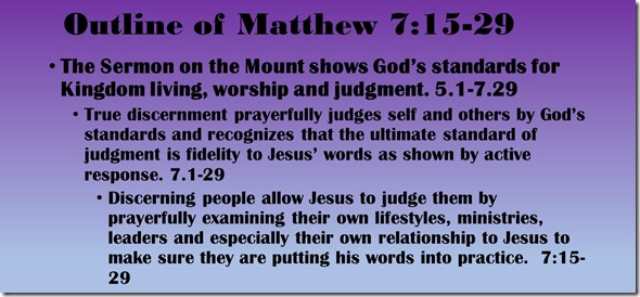 Outline of Matthew 7.14-29