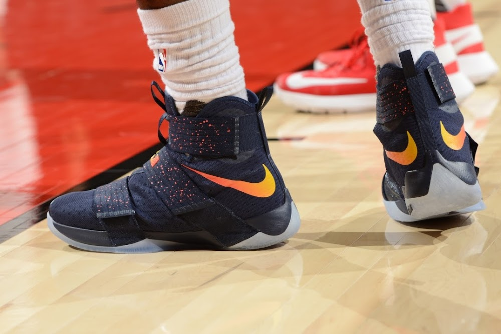 sports shoes 281c8 a7b37 ... King James Rocks LeBron Soldier 10 Cavs Lava PE in Toronto Again