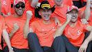 Lewis Hamilton, Martin Whitmarsh and Jenson Button celebrating succes