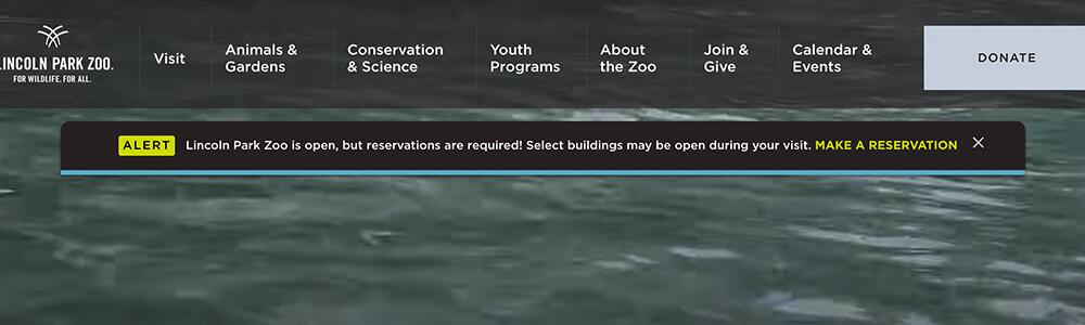 Lincoln Park Zoo website alert banner