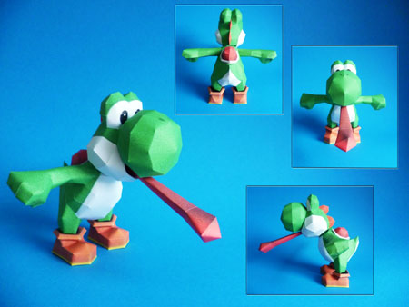 Tongue Out Yoshi Papercraft