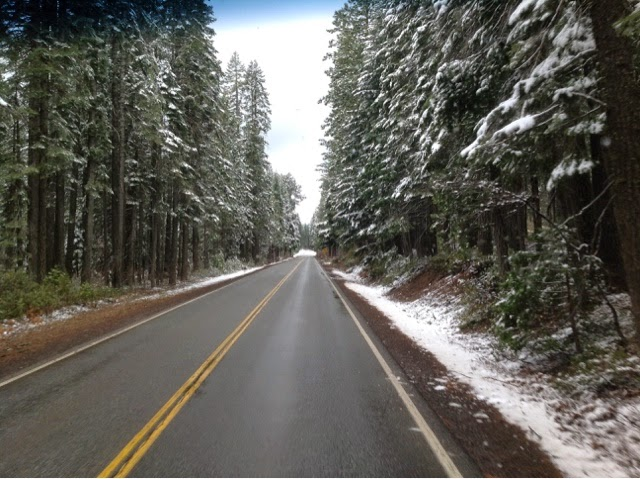 Wintry scene on California Highway 89 near Hat Creek