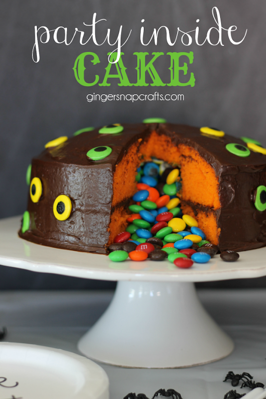 Party Inside Cake at GingerSnapCrafts.com #cake #party #recipes