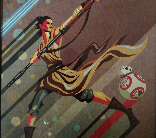 star wars the force awakens rey bb8 art deco poster