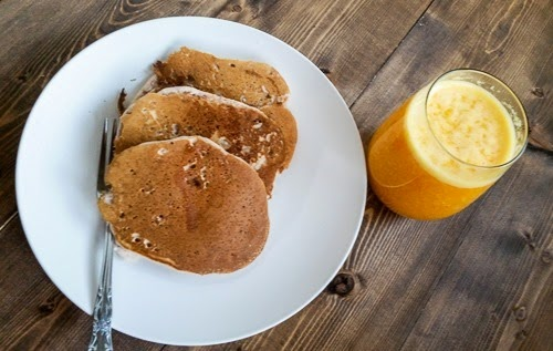 Strawberry Pancakes and Fresh Orange Juice