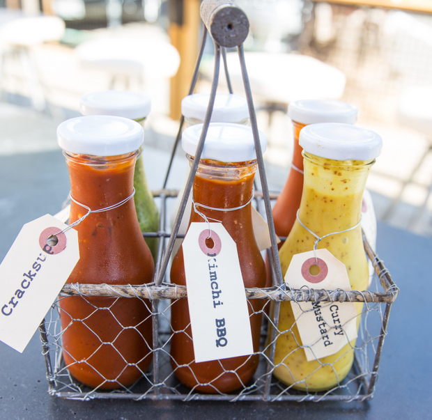 photo of a caddy of sauces