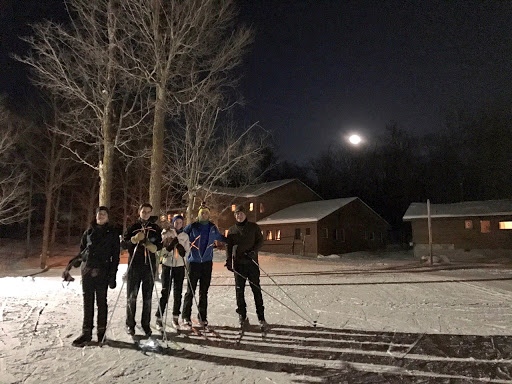 Night ski under the moonlight