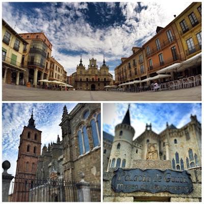 Plaza-España-Catedral-Palacio-Episcopal,-Astorga