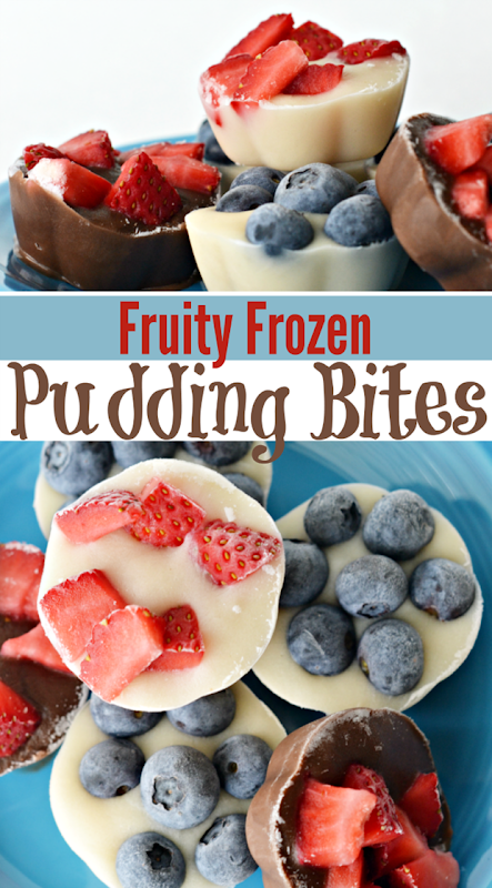 fruity frozen pudding bites collage