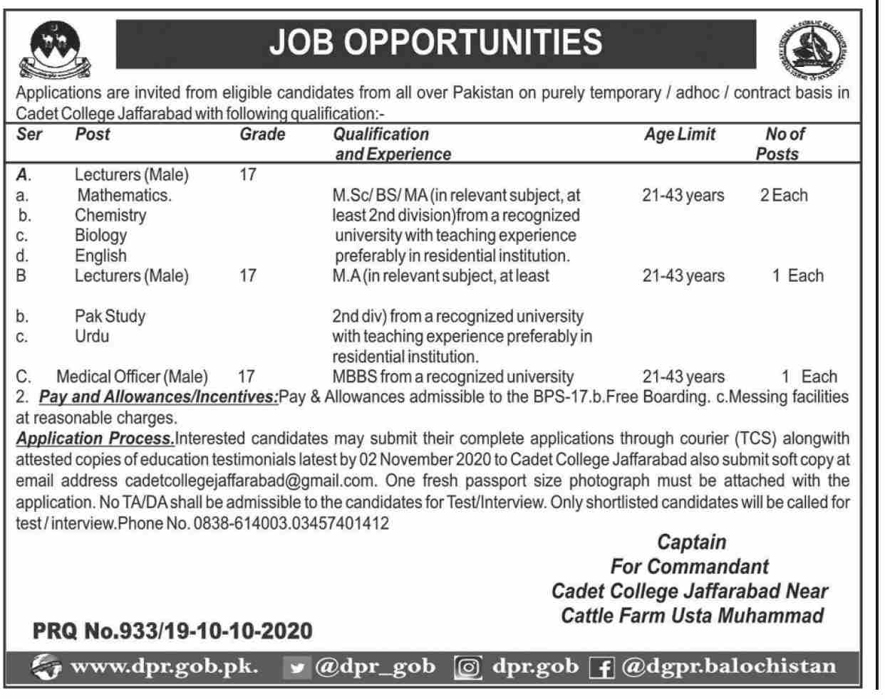 Cadet College Jaffarabad Jobs October 2020