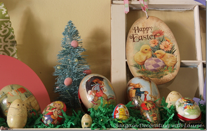 Easter eggs on the Mantel